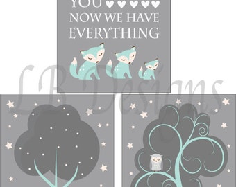 Fox Nursery Art, Aqua and Gray Nursery, Woodland Nursery Decor, Fox Nursery Art, Gender Neutral Nursery Decor - 8x10s