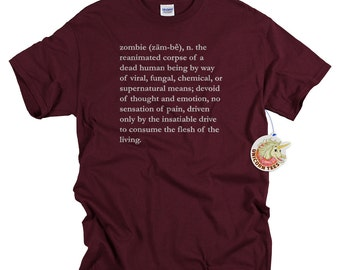 Zombie T-shirts for Men and Women Zombie Dictionary Definition Shirt Cool Tshirts Zombie Tees Zombie Gifts