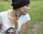 Hand knitted black beret - ajour hat for her minimalism