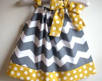 Newborn dress baby girl dress kids childrens clothes pillowcase dress girls dress Chevron gray gold
