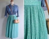 Vintage 80's Plisse Pleats Aqua Green Floral Print Skirt XS