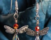 Wing Earrings - Angel or Dragonfly Swarovski Crystal Pewter and Glinter Earrings