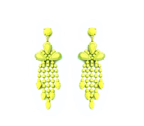 neon yellow chandelier earrings by shopdaughteroftheraj on
