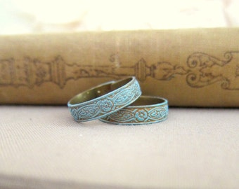Turquoise Ring Patina Rustic Aqua Ring Gift Pewter Steam Punk Gothic Blue Mint Antique Brass Vintage Inspired Adjustable Ring Gift
