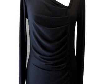 Black Asymmetrical Shirt, Plus Size Shirt, Black Pleated Shirt, Long Sleeves Shirt, Winter Cotton Shirt, Designers Shirt,