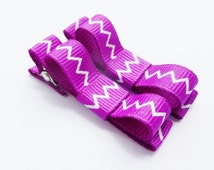 purple chevron hair bows tuxedo style clips for infant baby toddler girls--small barrettes-easter accessories