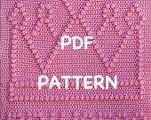 Princess Crown Baby Blanket  Pattern - Crochet Baby Security Blanket  - Baby Snuggle Blanket - Carseat or Stroller Blanket