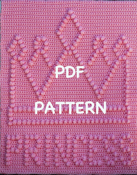 Princess Crown Baby Blanket  Pattern - Crochet Baby Security Blanket  - Baby Snuggle Blanket - Carseat or Stroller Blanket