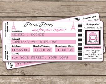 Paris Airline Invitation - Paris Invitation - Travel Invitation - Airline Ticket Invitation - Download & Personalize at home in Adobe Reader