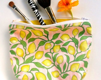 Pink Lemonade zippered pouch - cosmetic bag - pencil case