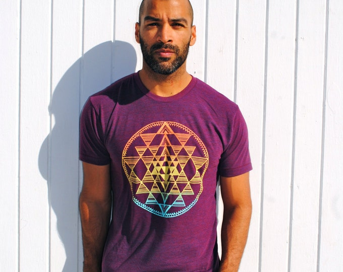 SRI YANTRA Sunset Ombre Tri-Blend Tee