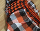 Halloween Baby Boy Diaper Cover: Black and Orange Argyle, Autumn Outfit, Fall Baby Pictures, Orange and Black Plaid