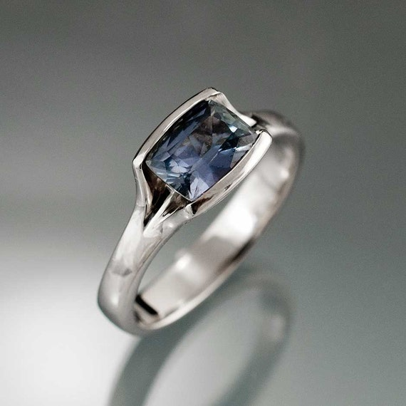 Teal Blue Sapphire Solitaire Engagement Ring in