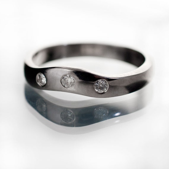 Moissanite Fitted Contoured Wedding Band in Palladium, Platinum, White Gold, Rose or Yellow Gold