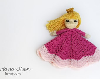 Pretty Princess Lovey CROCHET PATTERN instant download - blankey, blankie, security blanket