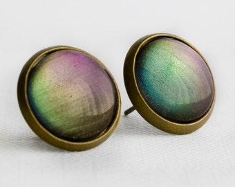 Aurora Borealis Post Earrings in Antique Bronze - Purple, Green, Blue Color Shifting Stud Earrings