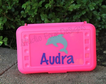 Personalized School Box - DOLPHIN Pencil Box/Art Supply Holder - Back to School - Most Popular Back to School Gift - School Supplies