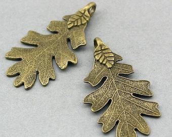 Acorn Leaf Charms Antique Bronze 2pcs pendant beads 26X48mm CM0521B
