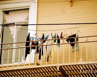 ChinaTown, Laundry, Linen, Underwear, Clothes Line, San Francisco, Fire Escape, Window, Photograph, Photography