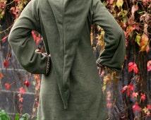 Legend of zelda cosplay costume Khaki Green Elven tunic - Medieval tunic - hyrule - Pixie hoodie - Halloween- festival tunic - pointy hood