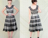 1950s GOTH GINGHAM GORGEOUS Rockabilly Vintage black and white gingham and black lace prom dress