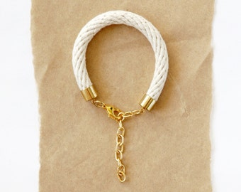 Rope Bracelet - Thick Natural Cotton Bracelet - Gold Chain