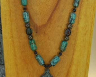 Ethnic Long African Turquoise Necklace and Earrings with Smaller Buddha Pendant