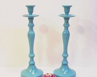 Take   Painted Candle Holders Taper Holders Seaside Blue Wedding Home Decor