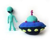 Aliens & Flying Saucer Crochet Pattern, Aliens Amigurumi Pattern, Flying Saucer Amigurumi Pattern, Aliens Crochet Pattern Space Ship Pattern