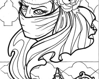 djinn, angry genie, middle eastern myth, horror art, coloring book page