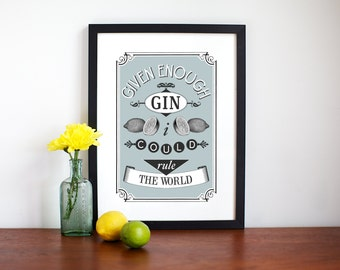 Gin Poster, Kitchen Poster, A3, Gin Print, Quote Print, A3, Poster, Kitchen Decor, Blue Kitchen, Gift for Her, Given Enough Gin, Wall Decor