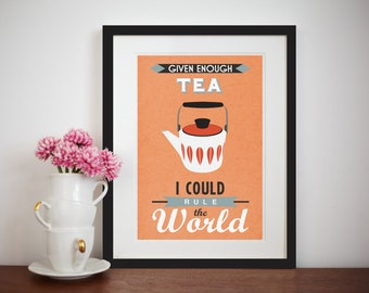 Tea Print, Retro Tea Poster, Tea Quote, Cathrineholm, Mid Century, Art Print, Scandinavian Poster, Kitchen Art, Wall Decor, Office Poster