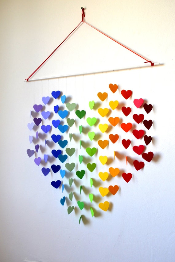 Hanging Heart Wall Decor : Items similar to rainbow heart mobile wall hanging
