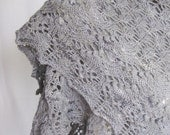 Luxurious knit wool gray shawl, openwork lacy and stylish gift OOAK - delectare