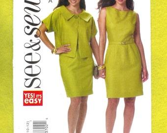 Butterick 5547 See and Sew Dress and Short Sleeved Jacket, and Self Belt, Sizes 6 to 12, UNCUT