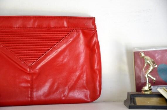 Bright Hot Red Punk Classic 80's Pleather Clutch