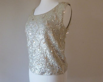60's Girl Group Pale Ice Sea foam Beaded Beaded Sequin Top S M