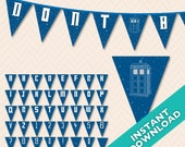 DIY Printable Doctor Who Tardis Banner ... Use again and again for every event, baby shower, birthday, etc.