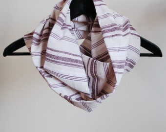 Infinity Scarf - Striped Circle Loop Eternity Scarf - by LimeGreenLemon