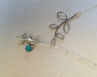 Sterling Silver Southwestern Style Lariat Necklace with Branch and Gecko with Turquoise, Lariat Necklace with Lizard, Nature, Outdoors, Aqua