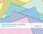 Digital paper honeycomb scrapbooking hexagon paper bee orange yellow blue green pink purple aqua : L0739 v301 3sSherbert