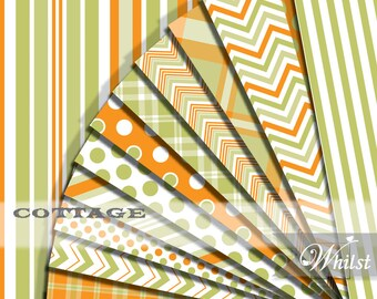 Digital Paper cottage printable scrapbooking in green and orange plaid stripe, polka dot, chevron for invites : p0212 3s061250C
