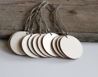 Wooden tags - gift tags - round gift tags - set of 10 - wooden labels