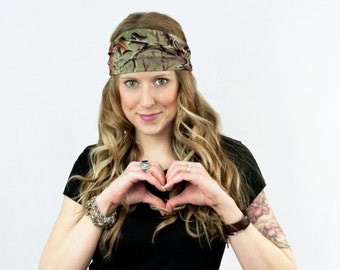 RealTree Camo Headband Wide Hair Wrap Head Band Camo Camouflage Real Tree Womens