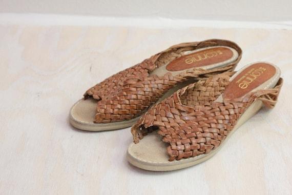 Vintage Woven Caramel Leather Sandals Wedge Heels Sz 8M