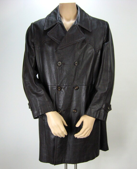 Men s brown leather car coat vintage leather jacket 70 s leather