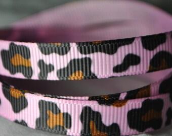 Pink Leopard Print - 3 yards, 3/8 inch wide