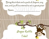 Monkey Baby Shower Diaper Raffle Card 2 per 4x6 - Boy