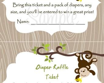 Monkey Baby Shower Diaper Raffle Card 2 per 4x6 - Boy