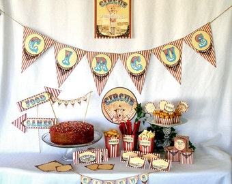 Vintage Circus Printable Party Pack Kit Instant Download